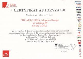 Certyfikat King Auto Seba