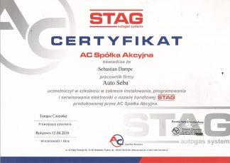 Certyfikat Stag Auto Seba